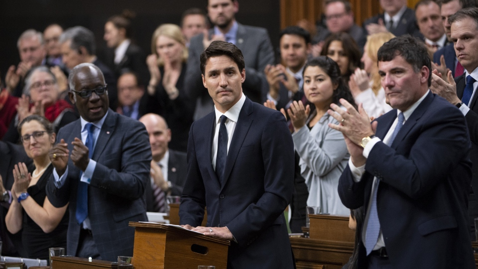 Canadian Prime Minister Justin Trudeau delivers a statement on the terrorist attack in New Zealand following Question Period in the House of Commons, Monday, March 18, 2019 in Ottawa. THE CANADIAN PRESS/Adrian Wyld