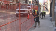 Work begins on phase two of the Dundas Place flex street in London, Ont. on Monday, March 18, 2019. (Gerry Dewan / CTV London)