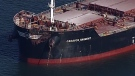 The Caravos Harmony is seen after colliding with another vessel. (CTV's Chopper 9)