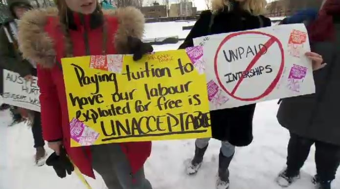Internship protests Quebec