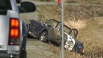 A man was ejected from a convertible in what first responders called a high-speed crash in Courtenay, Monday, March 18, 2019. (CTV Vancouver Island)