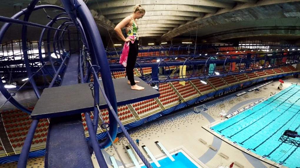 Montreal woman dives from such heights she needs a special platform