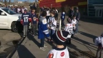 Hockey players rally outside Max Bell