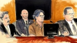 FILE- In this April 13, 2018 courtroom sketch Keith Raniere, second from right, leader of the secretive group NXIVM, attends a court hearing in the Brooklyn borough of New York. (Elizabeth Williams via AP, File)