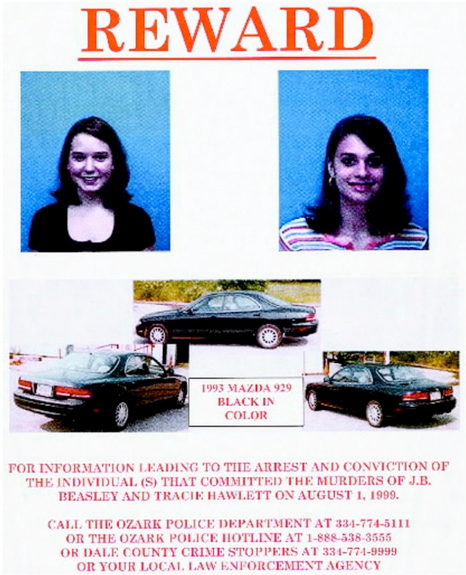 This 1999 flyer released by the Ozark (Ala.) Police Department, shows J.B. Beasley, left, Tracie Hawlett, who were both murdered in July 1999. (Ozark Police Department via AP)