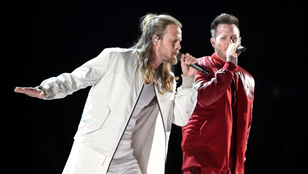 """Tyler Hubbard, right, and Brian Kelley, of Florida Georgia Line, perform """"Meant to Be"""" at the 53rd annual Academy of Country Music Awards in Las Vegas on April 15, 2018. Florida Georgia Line and the Glorious Sons will headline a new concert series at the RBC Canadian Open this summer. THE CANADIAN PRESS/AP-Invision, Chris Pizzello"""