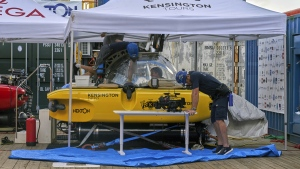Crew inspect a submersible