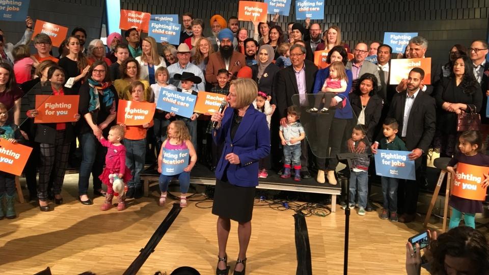 Rachel Notley announces the 2019 Alberta election in Calgary. (MARK VILLANI/CTV CALGARY)