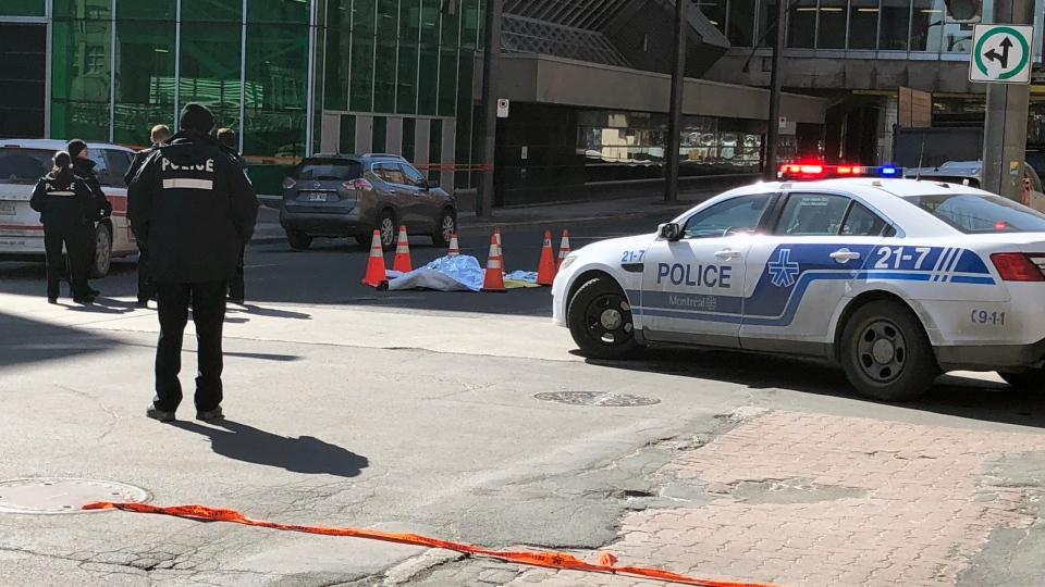 A pedestrian was struck and killed at Viger and St. Urbain on Tuesday March 19, 2019 (CTV Montreal/Jean-Luc Boulch)