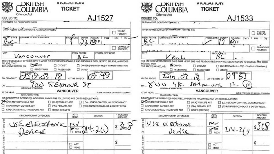 A pair of distracted driving tickets is shown in an image posted online by Vancouver police.
