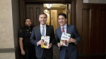 Prime Minister Justin Trudeau and Minister of Finance Bill Morneau arrive in the Foyer of the House of Commons to table the federal budget on Parliament Hill in Ottawa on Tuesday, March 19, 2019. THE CANADIAN PRESS/Justin Tang