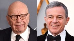This combination photo shows Fox News chairman and CEO Rupert Murdoch at the WSJ Magazine 2017 Innovator Awards in New York on Nov. 1, 2017, left, and Disney CEO Bob Iger at the Oscars in Los Angeles on March 4, 2018. (AP Photo)