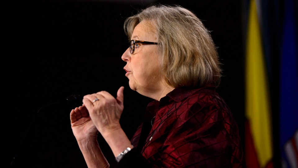 Green Party of Canada Leader Elizabeth May comments on the fall 2018 parliamentary session and on the upcoming COP24 climate conference during a press conference on Parliament Hill in Ottawa on Tuesday, Dec. 4, 2018. (THE CANADIAN PRESS/Sean Kilpatrick)