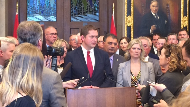 Conservative Leader Andrew Scheer speaks to reporters on Parliament Hill in Ottawa on Tuesday, March 19, 2019. (Merella Fernandez / CTV News)