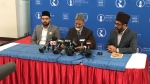 Lal Khan Malik (centre), National President of the Ahmadiyya Muslim Jama`at Canada, took questions from the media in Maple, Ont. on Tues., March 19, 2019 (CTV News/Krista Sharpe)