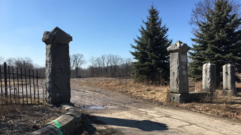 The old gateway to the former Alma College in St. Thomas, Ont. is seen on Tuesday, March 19, 2019. (Brent Lale / CTV London)