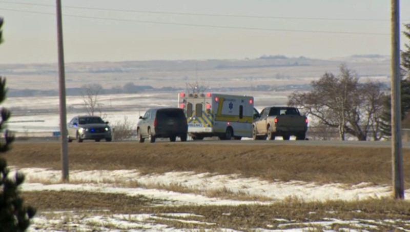 Emergency crews south of Strathmore on March 17, 2019 following the discovery of a deceased gunshot victim in a vehicle. RCMP have identified the man as Christian William White