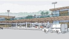 A rendering shows BC Ferries' vision for a new Lands End concession building at Swartz Bay ferry terminal. (BC Ferries)