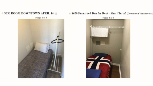 Converted dens listed as bedrooms for rent in downtown Vancouver are seen in these images from Craigslist.