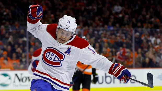 Montreal Canadiens' Brendan Gallagher celebrates after scoring a goal during the first period of an NHL hockey game against the Philadelphia Flyers, Tuesday, March 19, 2019, in Philadelphia. Montreal won 3-1. (AP Photo/Matt Slocum)