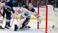 Edmonton Oilers' goalie Mikko Koskinen (19) allows a goal against the St. Louis Blues during the second period of an NHL hockey game Tuesday, March 19, 2019 in St. Louis. (AP Photo/Dilip Vishwanat)