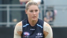 "Tayla Harris plays Australian rules football for Carlton FC. (DustyNail / <a href=""https://creativecommons.org/licenses/by-sa/4.0/"">Creative Commons</a>)"