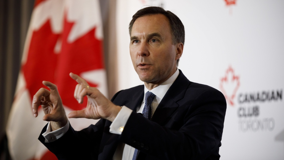 Finance Minister Bill Morneau speaks during an armchair discussion hosted by the Toronto Region Board of Trade, The Empire Club and Canadian Club of Toronto, in Toronto, Wednesday, March 20, 2019. THE CANADIAN PRESS/Cole Burston