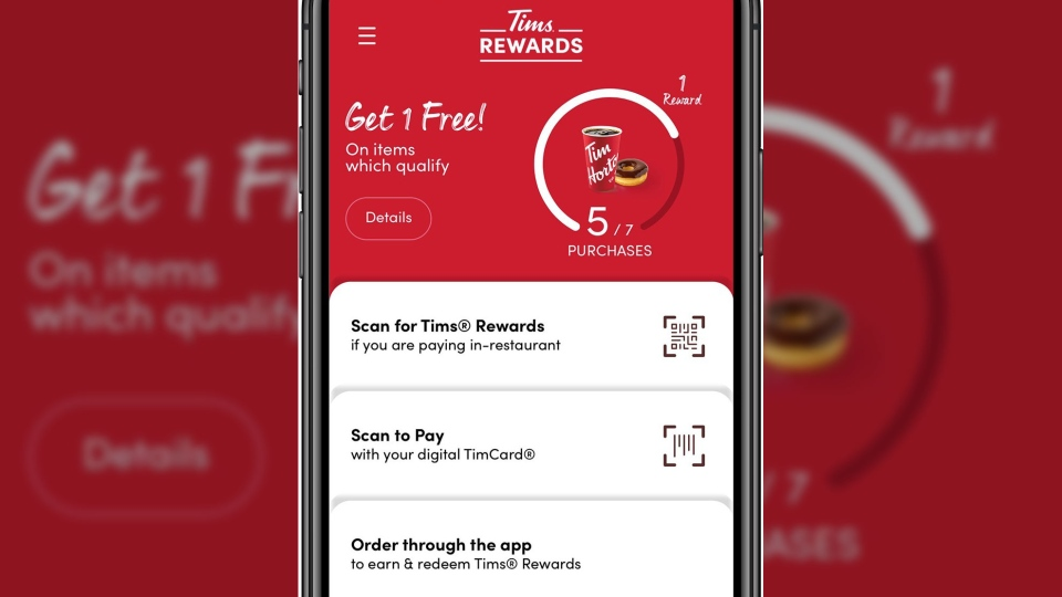 If customers download the chain's mobile app, they can also track how close they are to getting a free drink, scan for rewards or make orders from their mobile devices. (Tim Horton's)