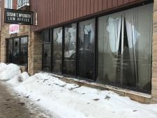 Windows smashed at 8 Iroquois Falls businesses. (Lydia Chubak/CTV Northern Ontario)