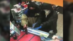 Two suspects are seen during an armed robbery at an Esso gas station in Kamloops, B.C. on March 18, 2019. (Handout)