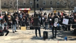 Students protest the Ford government's cuts to education funding outside U of T on March 20, 2019. (Brandon Gonez/CP24)
