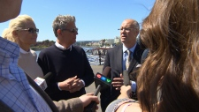 David Foster joined then-mayor Dean Fortin in May 2013 to announce naming the Victoria future waterfront walkway the 'The David Foster Harbour Pathway.' (CTV Vancouver Island)