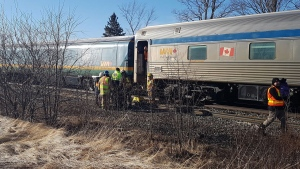 No one was injured when a Via Rail train struck some debris near Debert, N.S., on March 20, 2019. (James Faulkner/Bell Media)