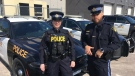 Caledon OPP Const. Kelly Mak (L), and her partner, five-year veteran Const. Guillermo Fonte on Wed. March 20, 2019 (CTV News/Krista Sharpe)