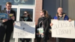 A group of concerned teachers held a rally late Wednesday afternoon to protest the decision. (Source: Jon Hendricks/CTV News)