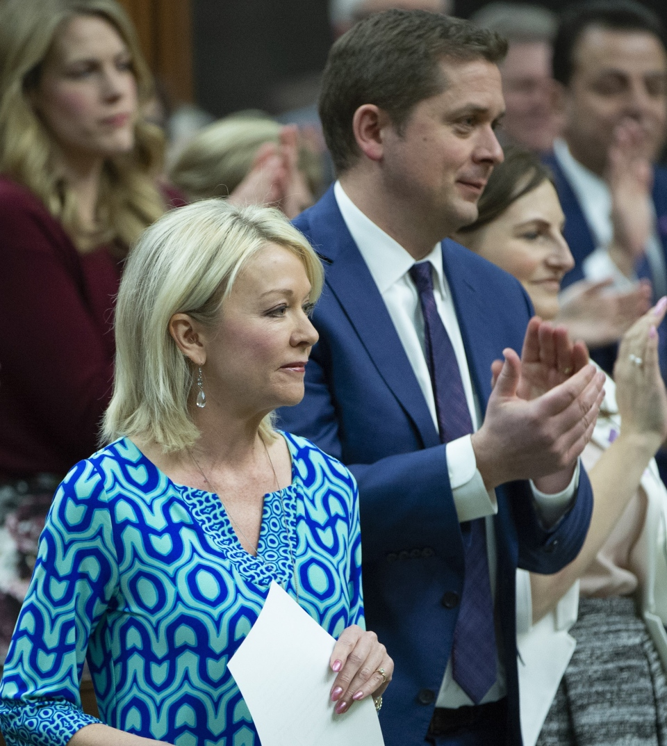 Conservative MP Candice Bergen is applauded as she speaks during Question Period in the House of Commons Wednesday, March 20, 2019 in Ottawa. THE CANADIAN PRESS/Adrian Wyld