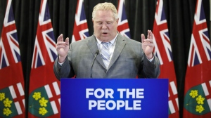 Ontario Premier Doug Ford speaks during a press conference at Queen's Park to address the findings of the Integrity Commissioner's Report, in Toronto, Wednesday, March 20, 2019.( THE CANADIAN PRESS/Cole Burston)