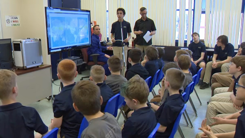 Students from North Point School for Boys asked questions of Canadian astronaut David Saint-Jacques, who was aboard the ISS, on Wednesday