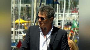 David Foster speaks in May 2012 at a ceremony to reveal Victoria's David Foster Way. (CTV Vancouver Island)