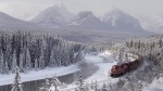 A Canadian Pacific freight train travels around Morant's Curve near Baker Creek, Alta. on Monday, December 1, 2014. (THE CANADIAN PRESS/Frank Gunn)
