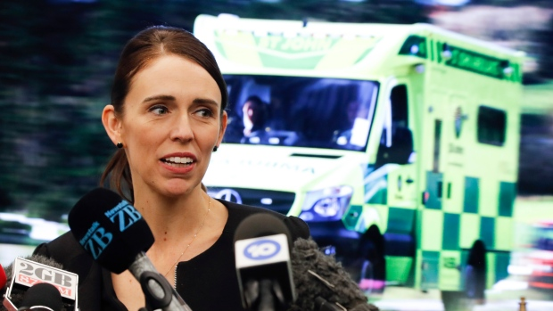 New Zealand's Prime Minister Jacinda Ardern speaks during an event to meet the first responder in the March 15 mosque shooting, in Christchurch, New Zealand, Wednesday, March 20, 2019. (AP Photo/Vincent Thian)
