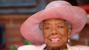 In this May 20, 2010 file photo, poet Maya Angelou smiles as she greets guests at a garden party at her home in Winston-Salem, N.C. (AP Photo/Nell Redmond)