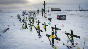 A memorial for the 2018 crash where 16 people died and 13 injured when a truck collided with the Humboldt Broncos hockey team bus, is shown at the crash site on Wednesday, January 30, 2019 in Tisdale, Saskatchewan. THE CANADIAN PRESS/Ryan Remiorz