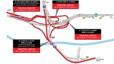 The ramps outlined in red will be closed from midnight Friday March 22 until 5 a.m. Monday.