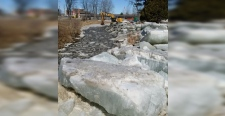 Ice removal off Parks Creek in North Bay