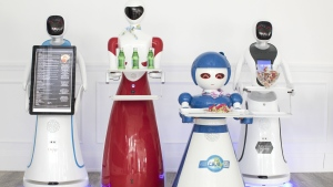 Robots, left to right, 'Amy Plus' 'Beauty' 'Loloita' and 'Alice' are pictured at Rap Riderz Innovation Centre in Aurora, Ont. on Wednesday, March 20, 2019. THE CANADIAN PRESS/Chris Young