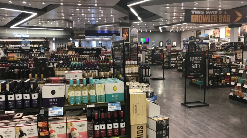 Stores will use bottle locks, alarm pedestals and lockable shelf cases for high-value targeted liquor and certain products will only be available by request. (Source: Josh Crabb/CTV News)