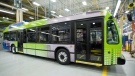 An electric bus is shown at the Nova Bus production plant in St. Eustache, Que., on March 7, 2012. (THE CANADIAN PRESS / Graham Hughes)