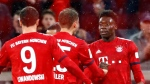 Bayern's Alphonso Davies, right, celebrates after scoring his side's sixth goal during the German Bundesliga soccer match between FC Bayern Munich and 1. FSV Mainz 05 in Munich, Germany on March 17, 2019. (THE CANADIAN PRESS/AP, Matthias Schrader)