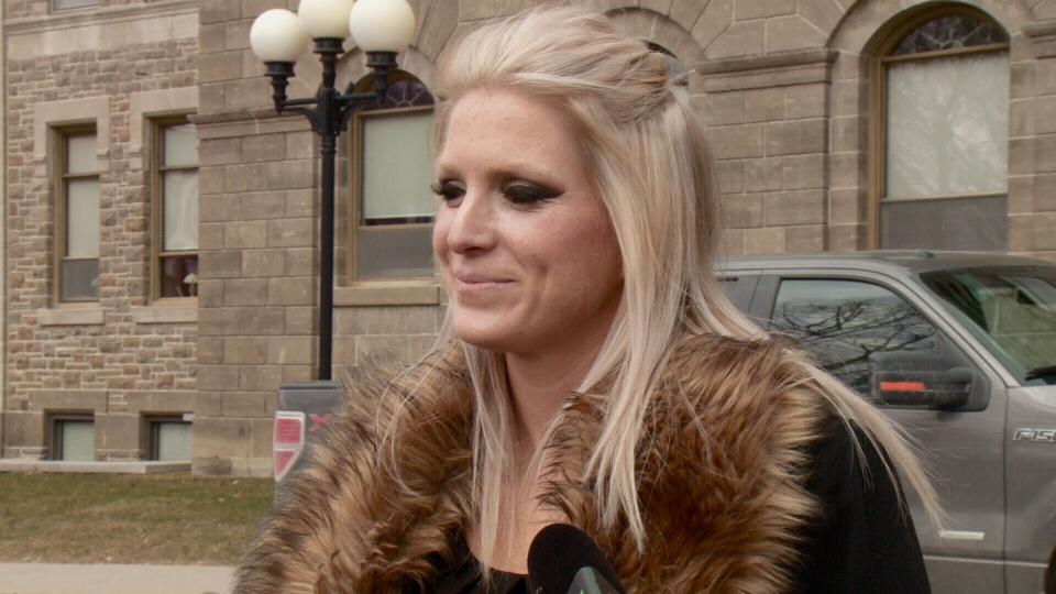 Rebekah D'Aoust outside court.
